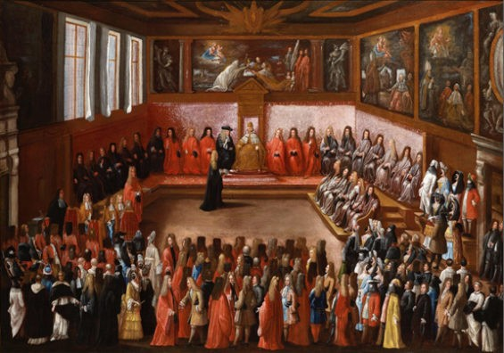 The Doge receiving an Ambassador in the Sala del Collegio of the Doge's Palace