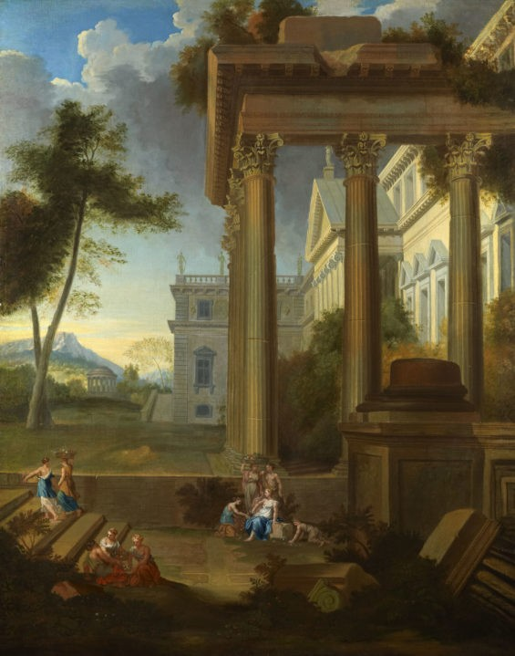 A Capriccio of Classical Architecture with Maidens gathering flowers in the foreground