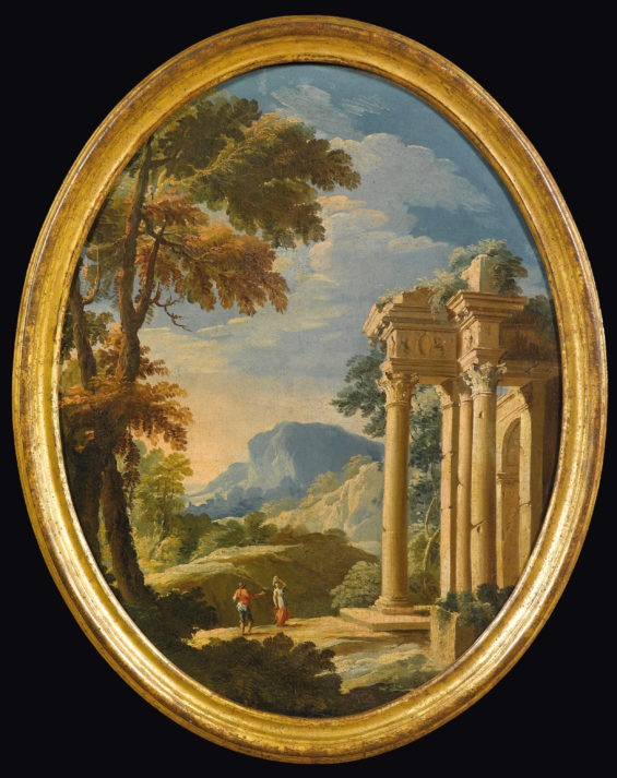 A Capriccio Landscape with a Temple to the right, A rocky landscape with Mountains in the distance and figures in the foreground; a pair