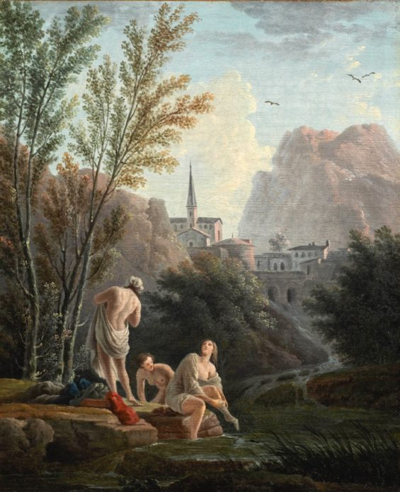 Girls bathing outside a town by a river in a mountainous ​​​​​landscape; A Fisherwoman unloading a catch on a shore attended by a donkey ​​​and a young boy; a pair