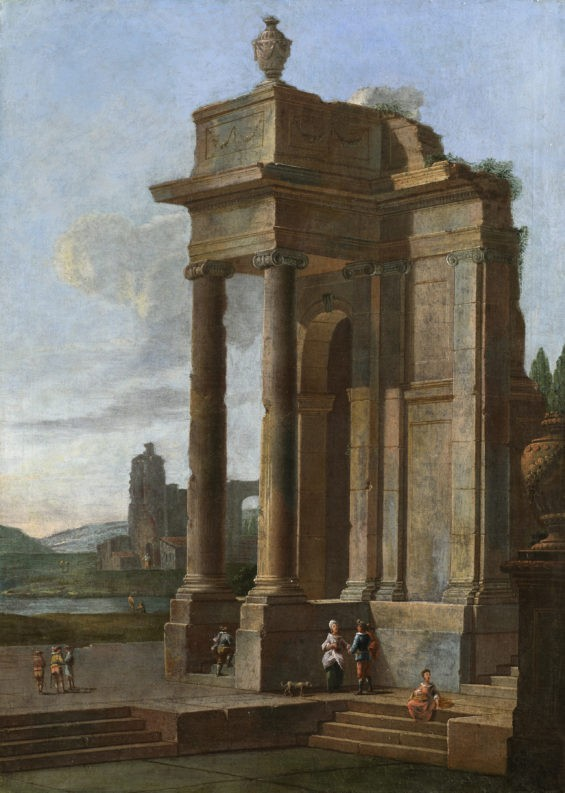 A Capriccio Landscape with figures beside a statue and ruins, including the Pyramid of Caius Cestius, an open landscape beyond; a pair