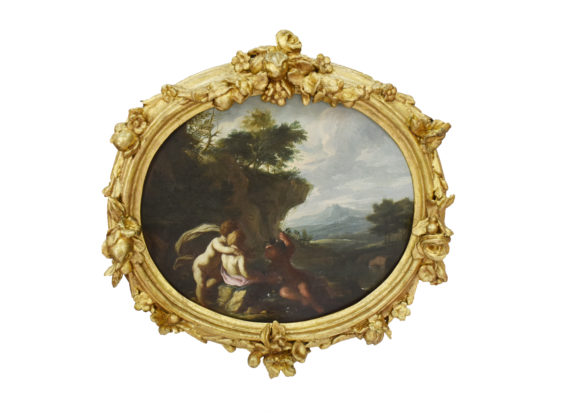 Putti frolicking in campagna landscapes;  a pair